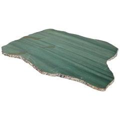 Kiva Large Platter in Emerald Quartz and Pure Silver by Anna Rabinowitz