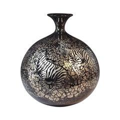 Japanese Imari Platinum-Gilded Black Porcelain Vase by Contemporary Artist