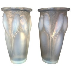 "René Lalique, Pair of Opalescent ""Ceylan"" Vases"