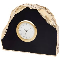 Ampliar Clock in Obsidian and Gold by Anna Rabinowitz