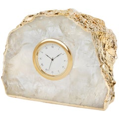 Ampliar Clock in Crystal and Gold by Anna Rabinowitz