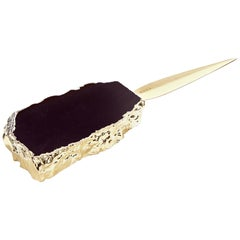 Ampliar Letter Opener in Obsidian and Gold by Anna Rabinowitz