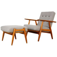 One Cigar Easy Chair GE240 & Stool GE240S by Hans J. Wegner for GETAMA, 1950s