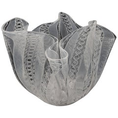 Vintage Venini Murano Fulvio Bianconi Handkerchief Zanfirico Blown Glass Vass