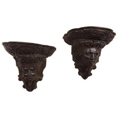 17th Century Carved Oak Wall Brackets, Archbishop William Laud and Charles 1st