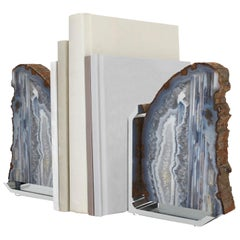 Fim Bookends in Agate and Brass by Anna Rabinowitz