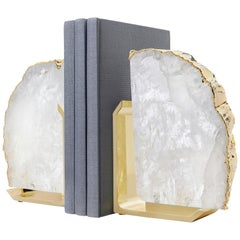 Fim Bookends in Crystal and Gold and Brass by Anna Rabinowitz