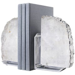 Fim Bookends in Crystal and Silver and Nickle by Anna Rabinowitz