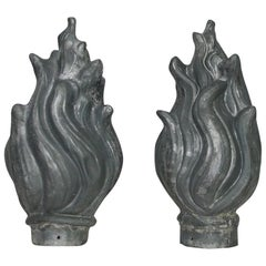 Pair of 19th Century French Zinc Roof Finials