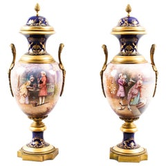 Antique Pair of Ormolu Mounted Sèvres Lidded Urns Vases, 19th Century