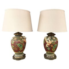 Pair of Asian Dragon and Charm Motif Hand-Decorated Ceramic Table Lamps