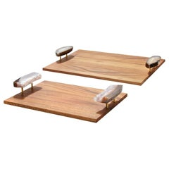 Bosque Tray in Bosque Wood and Druze Agate by Anna Rabinowitz
