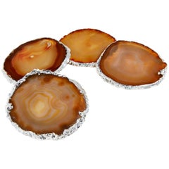 Lumino Cheese Set in Agate, Pure Silver and Stainless Steel by Anna Rabinowitz