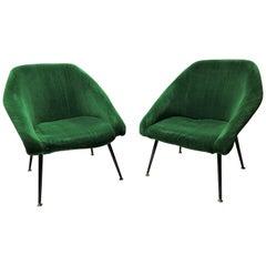 Midcentury Green Velvet Cocktail Chairs, 1960s