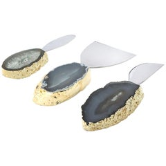 Lumino Cheese Set in Agate, 24-Karat Gold and Stainless Steel by Anna Rabinowitz