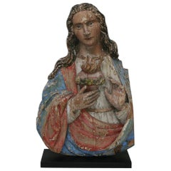 French 18th Century Baroque Painted Wooden Madonna