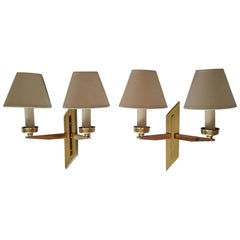 Pair of French Mid-Century Modern Sconces by Maison Lunel, 1950s