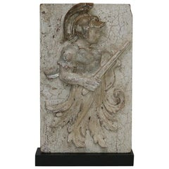18th Century Italian Baroque Wooden Panel with Warrior