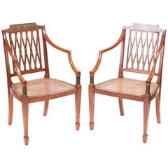 Fine Quality Pair of Original Painted Satinwood Armchairs