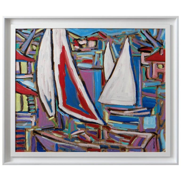 """Philippe Visson Painting """"Poussée de Vent"""", 1997"""