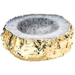 Cascita Bowl in Agate and 24 Karat Gold by Anna Rabinowitz