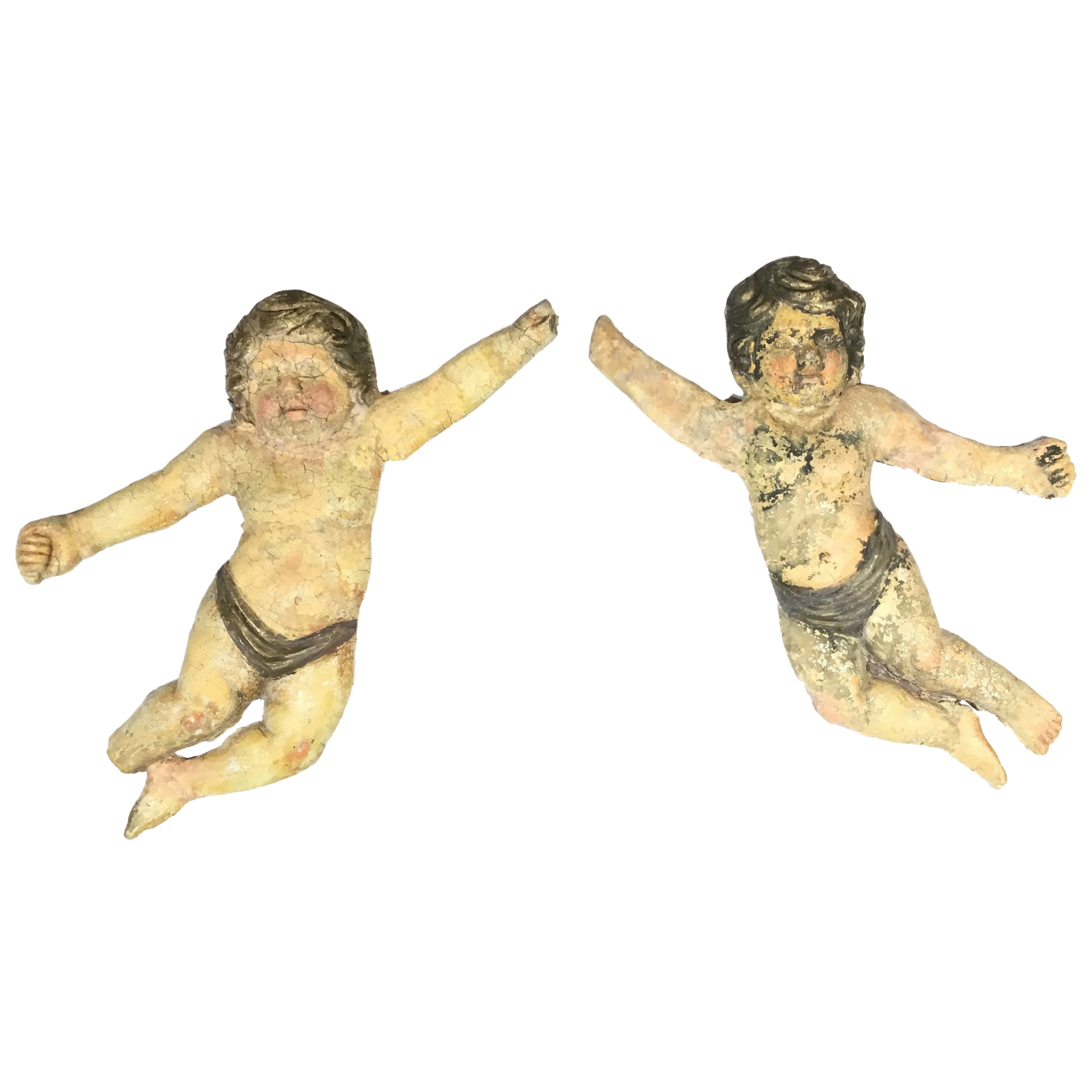 Pair of Antique Italian Wall Hanging Cherub