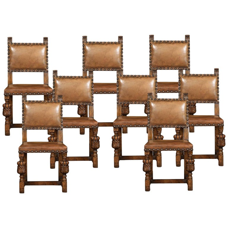 Set of Eight Carved Oak Dining Chairs For Sale