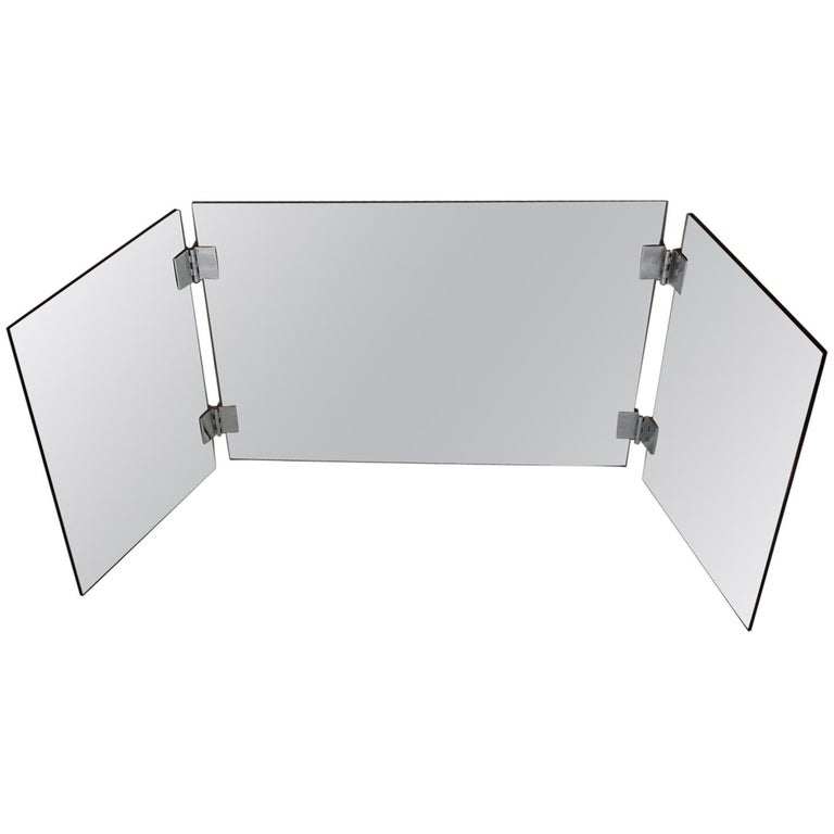 Large French Folding Wall Dressing Triptych Mirror, France, 1970s