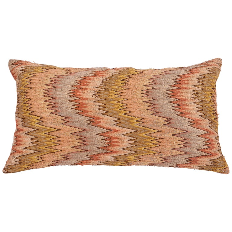 Antique Pillow Made from 18th-19th Century Italian Bargello Flame Stitch For Sale