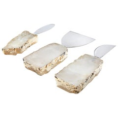Kiva Cheese Set in Crystal, 24-Karat Gold and Stainless Steel by Anna Rabinowitz