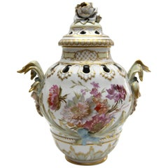 Big KPM Berlin Porcelain Potpourri Vase with Rich Weichmalerei Painting
