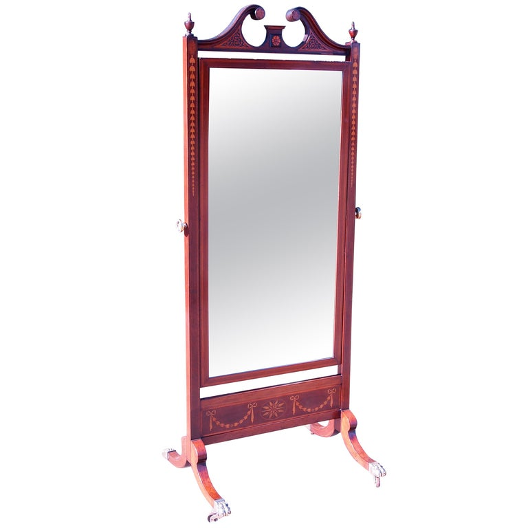 Antique 19th Century Mahogany Cheval Dressing Mirror
