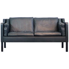 Børge Mogensen 2-Seat Sofa Mod. 2212 Fredericia Denmark Dark Grey Leather