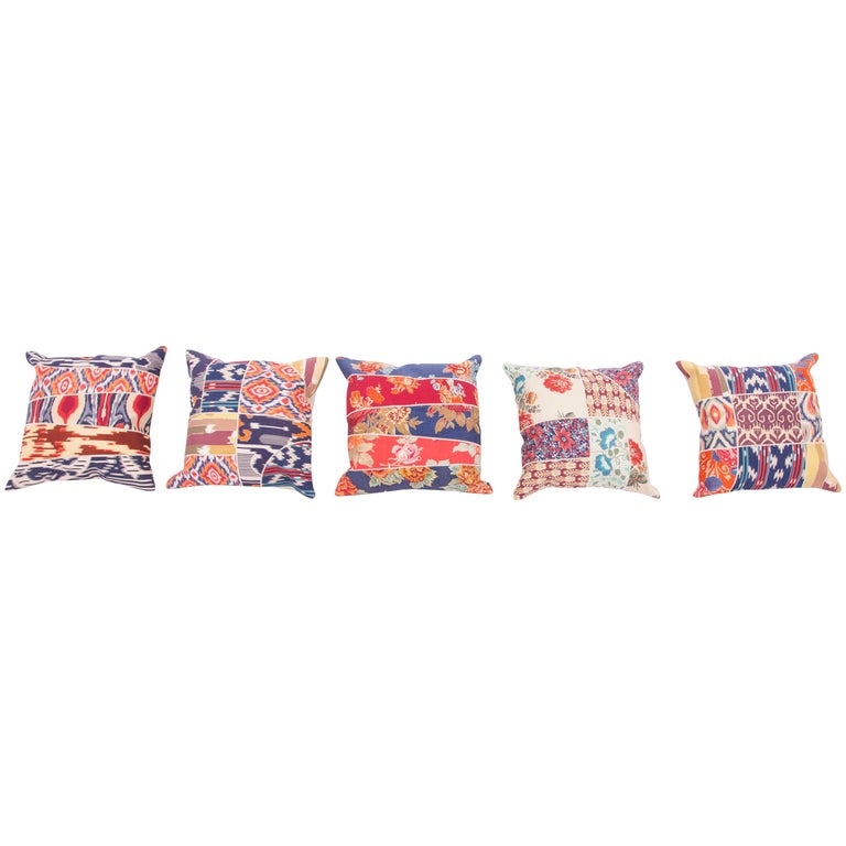 Patch Work Pillow Cases Fashioned from Old and Antique Russian Trade Cloth For Sale