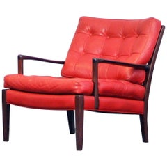 Arne Norell Lounge Easy Chairs Model Löven Arne Norell Red Leather Mahogany