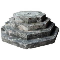 Early 20th Century Carved Stone Octagonal Stepped Plinth, circa 1920-1940