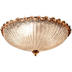 Pink and Ice Color Murano Glass Flush Mount or Ceiling by Barovier e Toso, 1950