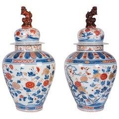 Pair 19th Century Japanese Arita Lidded Imari Vases