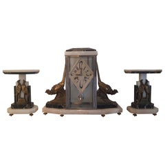Art Deco Clock Set, Marble Onyx and Bronze