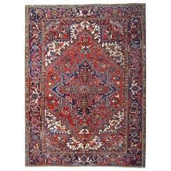 Antique Persian Rugs, Red Rug from Heriz, Floor Carpet Rug