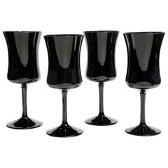 Four Black Elegant Glasses by Zbigniew Horbowy, Poland, 1970s
