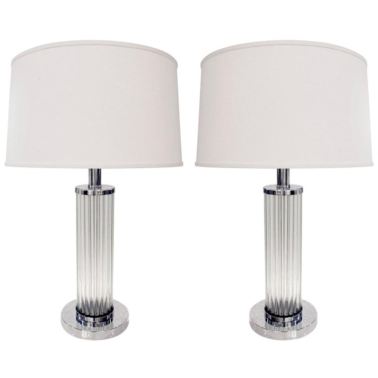 Pair of Chic Internally Illuminating Table Lamps with Glass Rods, 1970s For Sale