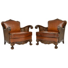 Pair of Antique Satin Birch and Leather Bergère Armchairs