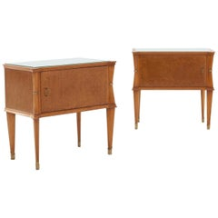 Pair of Italian Bedside Tables with Light Green Glass Top, 1950s