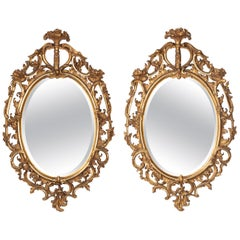 Good Pair of Oval, George III Period, Giltwood Mirrors