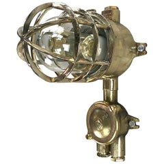 1970s German Explosion Proof Wall Light Cast Brass, Glass Shade and Junction Box