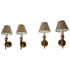 Andre Arbus Two Pairs of Neoclassical Sconces Andrè Arbus France, 1950s
