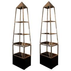 Pair of Illuminating Pyramid-Shaped Shelves, Maison Jansen, circa 1970