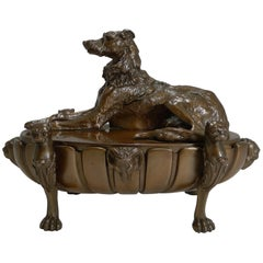 English Regency Cast Dog Bronze Desk Inkwell or Compendium, Lurcher, circa 1820