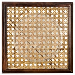 Picture Frame Holder in Wood Lucite and Wicker, 1960s, Italy